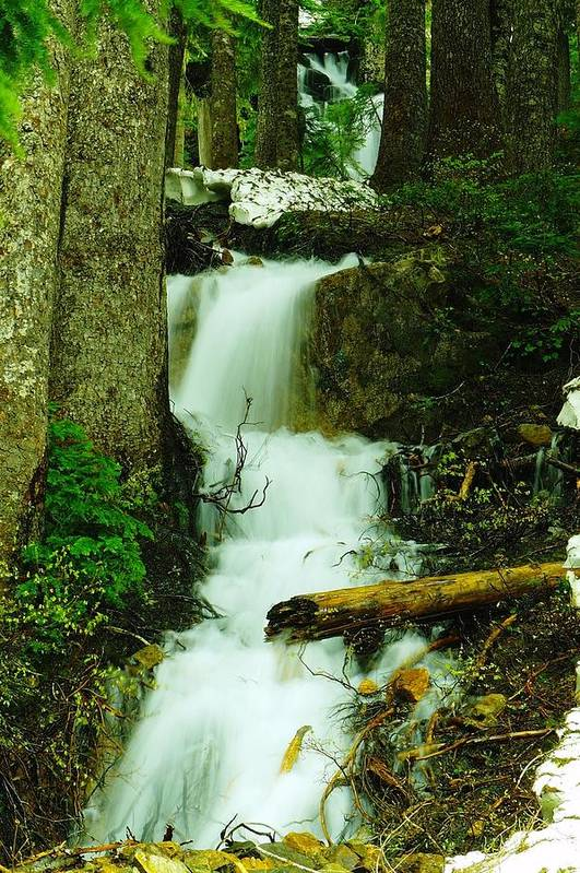 Snow Poster featuring the photograph A Waterfall In Spring Thaw by Jeff Swan