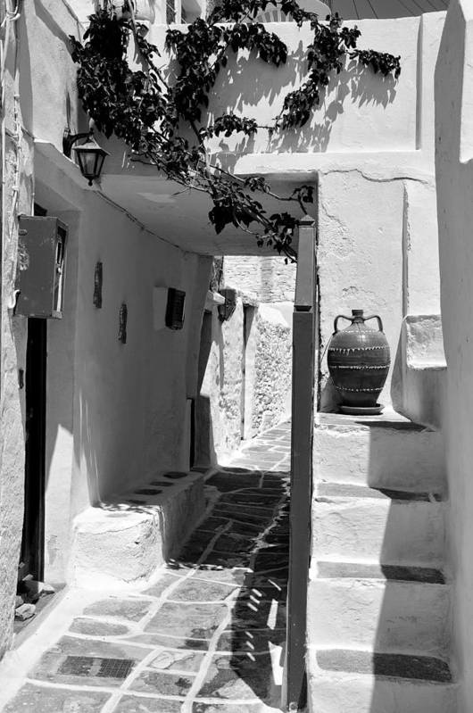 Sifnos; Kastro; Castro; Village; Alley; Street; Staircase; House; Home; Residence; Greece; Hellas; Cyclades; Kyklades; Aegean; Island; Holidays; Vacation; Travel; Trip; Voyage; Journey; Tourism; Touristic; Summer; Architecture; Design; Tradition; Traditional; Black And White; Black + White; B/w; B&w; B+w Poster featuring the photograph Alley In Kastro Village by George Atsametakis