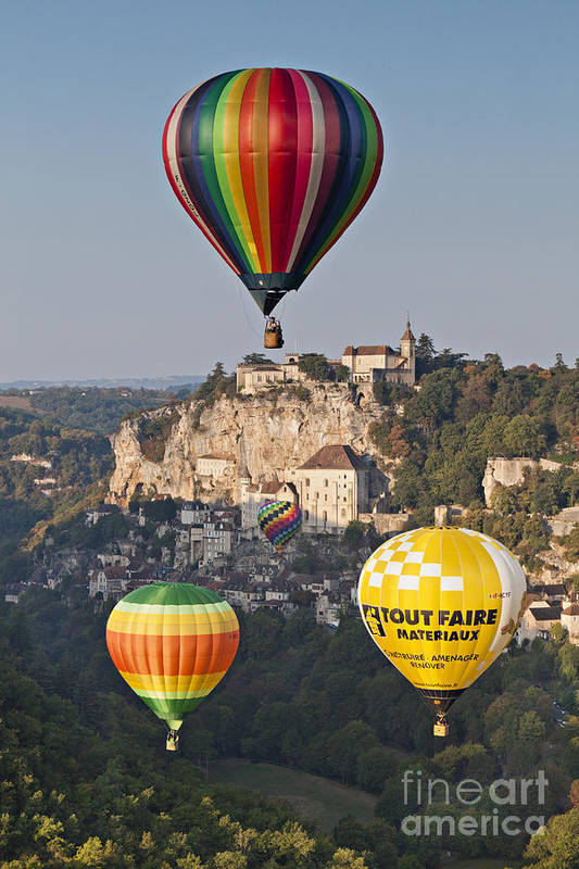 Balloons Poster featuring the photograph Balloons At Rocamadour Midi Pyrenees France by Colin and Linda McKie