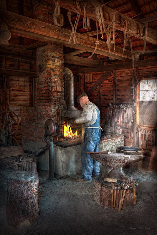 Blacksmith Poster featuring the photograph Blacksmith - The Importance Of The Blacksmith by Mike Savad