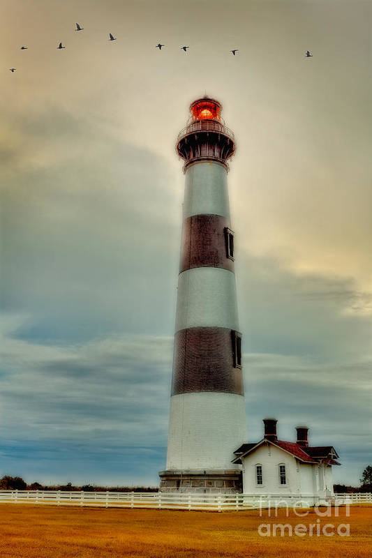 Outer Banks Poster featuring the photograph Bodie Lighthouse Outer Banks Abstract Painting by Dan Carmichael
