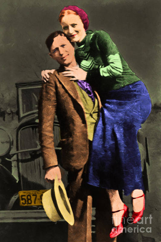 Celebrity Poster featuring the photograph Bonnie And Clyde 20130515 by Wingsdomain Art and Photography