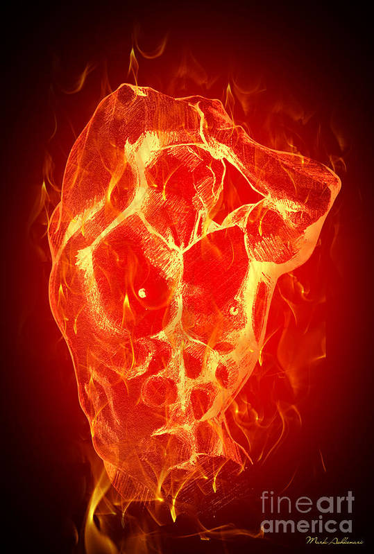 Fire Poster featuring the digital art Burning Up by Mark Ashkenazi