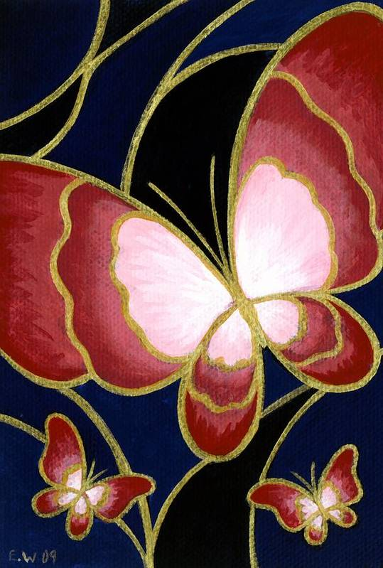 Cloisonne Painting Poster featuring the painting Cloisonne Butterfly by Elaina Wagner