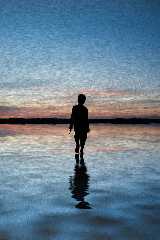 Concept Poster featuring the photograph Concept Image Of Young Boy Walking On Water In Sunset Landscape Digital Painting by Matthew Gibson