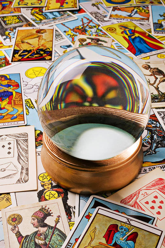 Crystal Ball Poster featuring the photograph Crystal Ball And Tarot Cards by Garry Gay