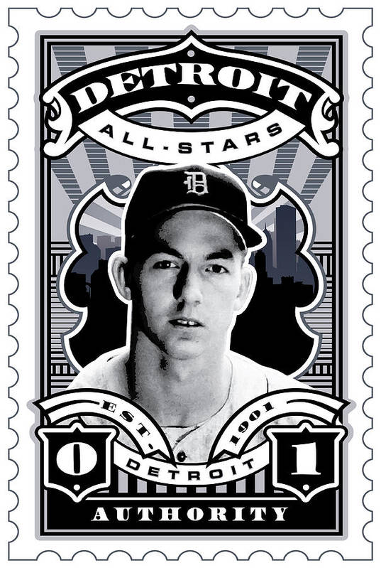 Detroit Tigers Poster featuring the digital art Dcla Al Kaline Detroit All-stars Finest Stamp Art by David Cook Los Angeles
