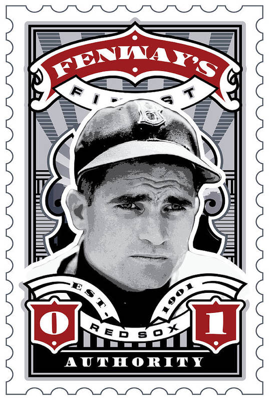 Ted Williams Poster featuring the digital art Dcla Bobby Doerr Fenway's Finest Stamp Art by David Cook Los Angeles
