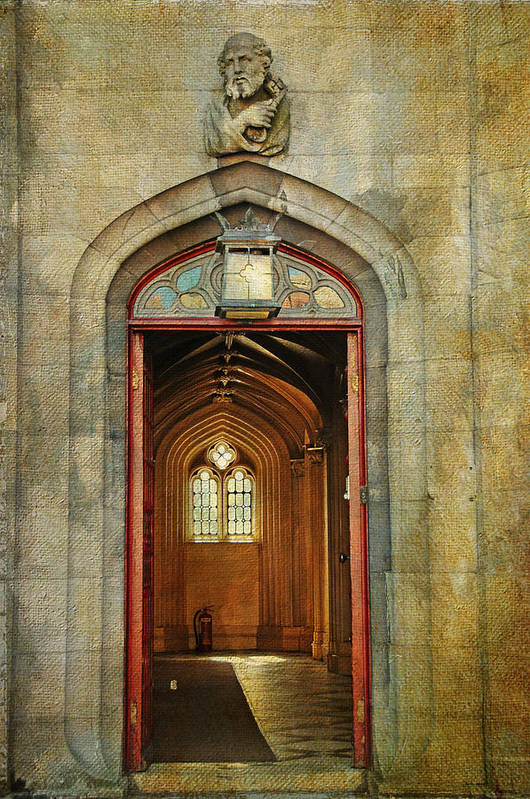 Ireland Poster featuring the photograph Entrance To The Gothic Revival Chapel. Streets Of Dublin. Painting Collection by Jenny Rainbow