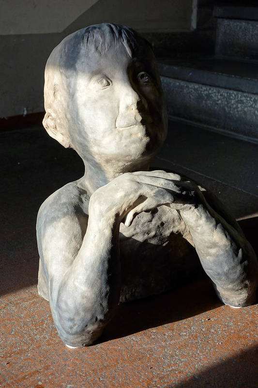 Potters Clay Poster featuring the sculpture Flabbergasted Young Man by Reiner Poser