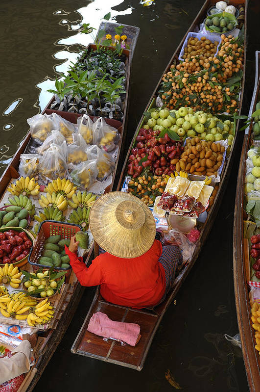 Damnoen Saduak Floating Market Poster featuring the photograph Floating Market by Christian Heeb