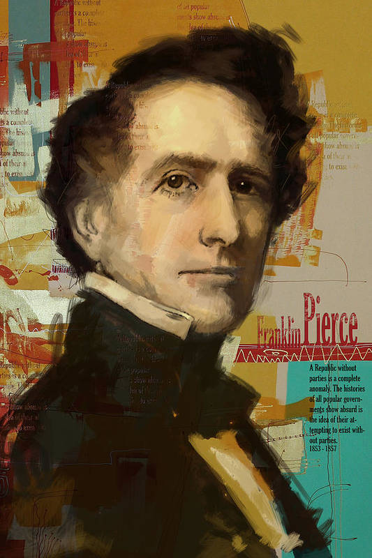 John Tyler Poster featuring the painting Franklin Pierce by Corporate Art Task Force