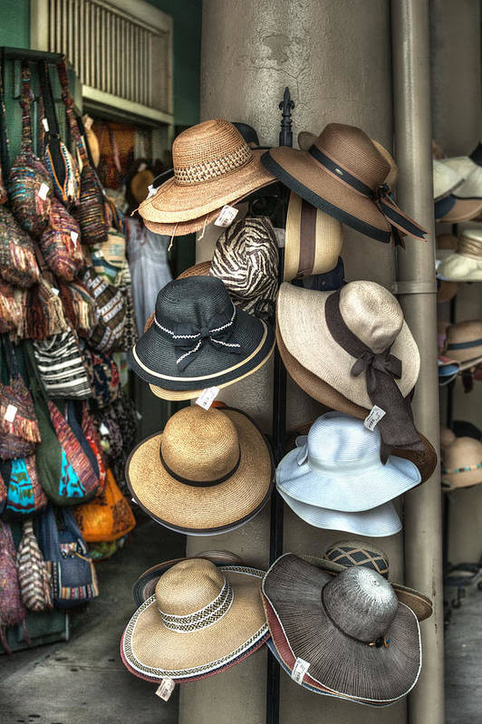 French Market Poster featuring the photograph French Market Hats For Sale by Brenda Bryant