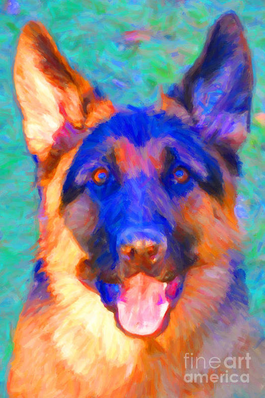 Animal Poster featuring the photograph German Shepard - Painterly by Wingsdomain Art and Photography