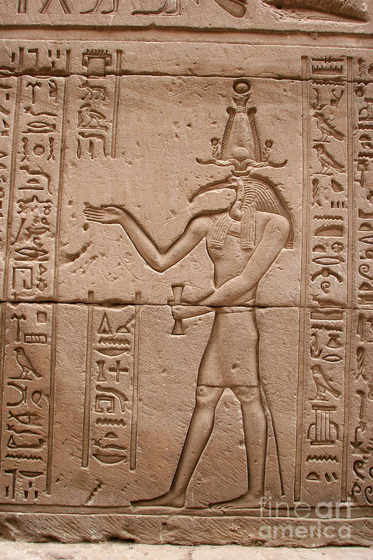 Temple Of Horus Poster featuring the photograph God Of Wisdom Relief by Stephen & Donna O'Meara