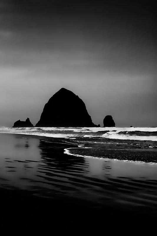 Black And White Poster featuring the photograph Haystack Rock On Cannon Beach by David Patterson