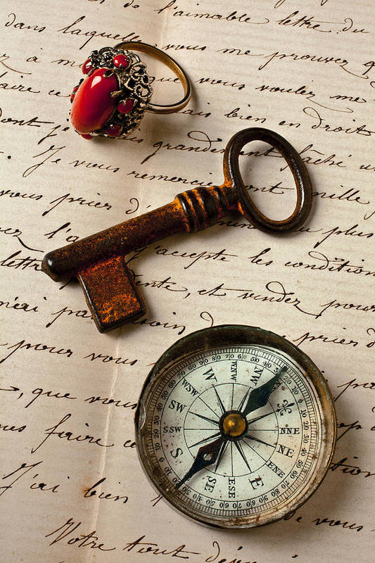 Ring Poster featuring the photograph Key Ring And Compass by Garry Gay