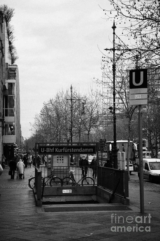 Berlin Poster featuring the photograph Kufurstendamm U-bahn Station Entrance Berlin Germany by Joe Fox