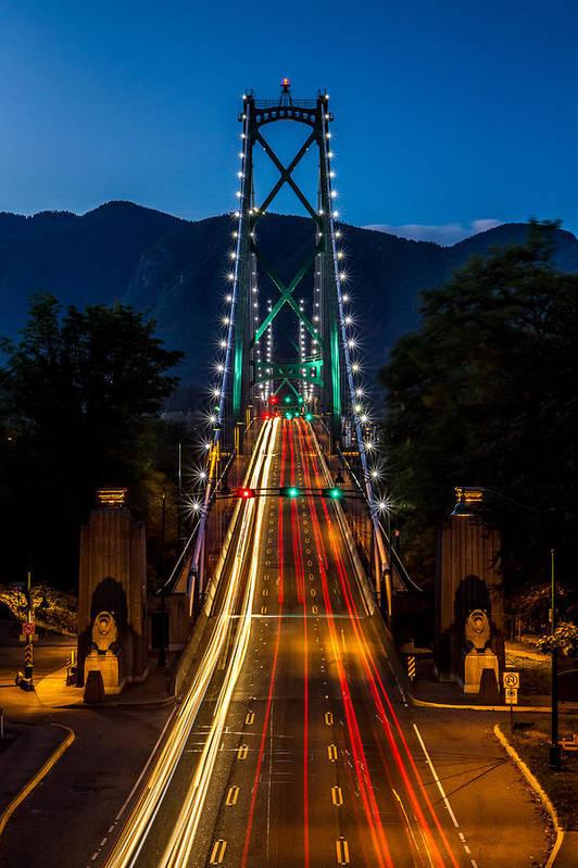 Lion's Gate Bridge Poster featuring the photograph Lion's Gate Bridge Vancouver B.c Canada by Pierre Leclerc Photography