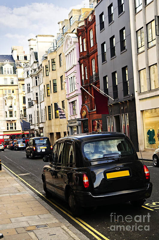 London Poster featuring the photograph London Taxi On Shopping Street by Elena Elisseeva