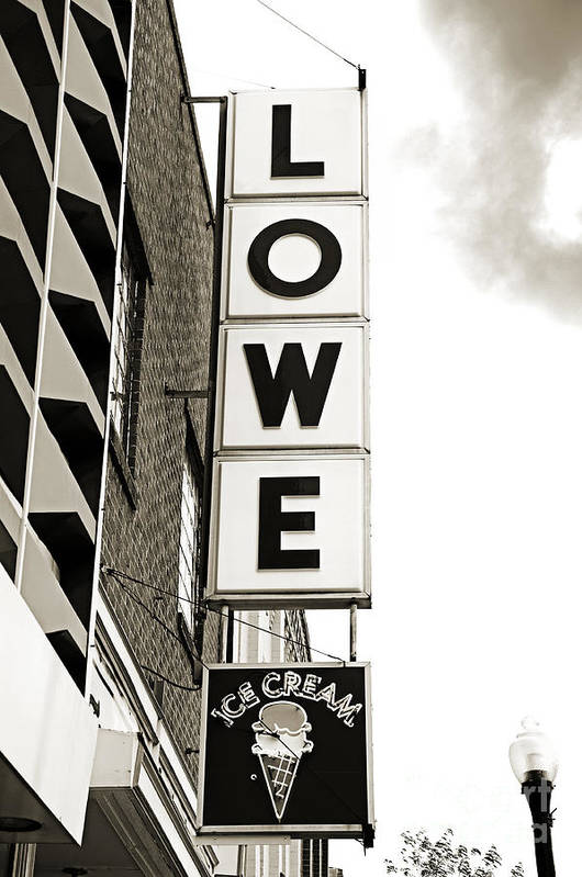 Lowe Drug Store Sign Bw Poster featuring the photograph Lowe Drug Store Sign Bw by Andee Design