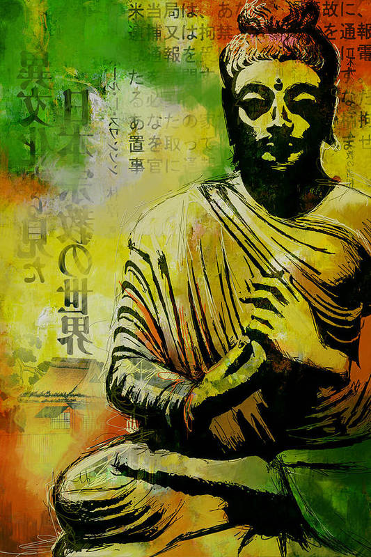 Corporate Art Task Force Poster featuring the painting Meditating Buddha by Corporate Art Task Force