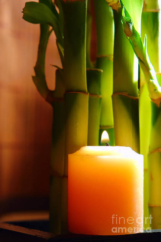 Bamboo Poster featuring the photograph Meditation Candle And Bamboo by Olivier Le Queinec