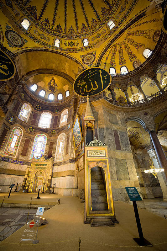 Hagia Poster featuring the photograph Mimbar And Mihrab In The Hagia Sophia by Artur Bogacki