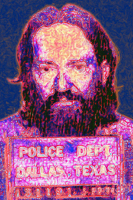 Willie Nelson Poster featuring the photograph Mugshot Willie Nelson Painterly 20130328 by Wingsdomain Art and Photography