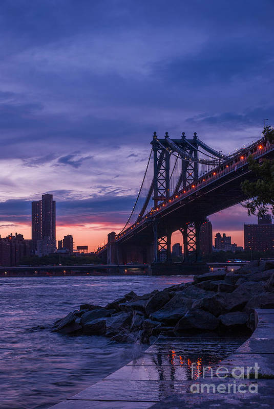 Nyc Poster featuring the photograph Nyc - Manhatten Bridge At Night II by Hannes Cmarits