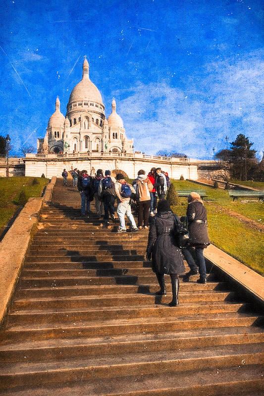 Basilique Du Sacre Coeur Poster featuring the photograph Paris - The Long Climb To Sacre Coeur by Mark E Tisdale