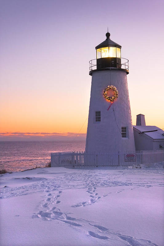 Lighthouse Poster featuring the photograph Pemaquid Point Lighthouse Christmas Snow Wreath Maine by Keith Webber Jr