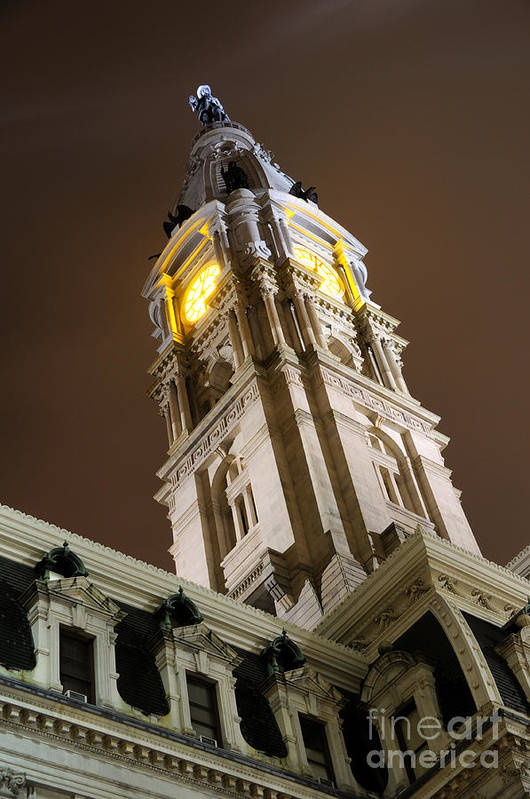 Philadelphia Poster featuring the photograph Philadelphia City Hall Clock Tower At Night by Gary Whitton
