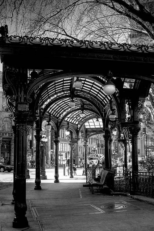 Black And White Poster featuring the photograph Pioneer Square Pergola by David Patterson