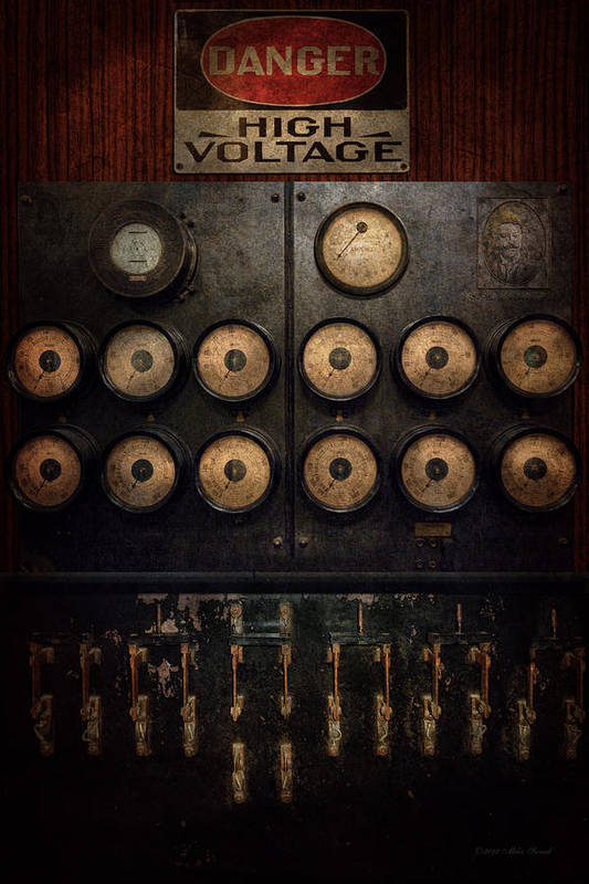 Steampunk Poster featuring the photograph Steampunk - Electrical - Center Of Power by Mike Savad