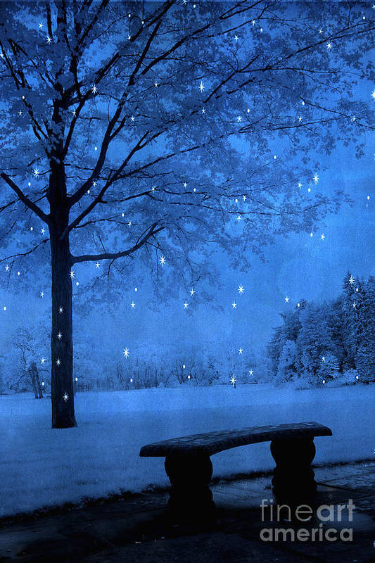 Surreal Fairytale Nature Photos Poster featuring the photograph Surreal Fantasy Winter Blue Tree Snow Landscape by Kathy Fornal