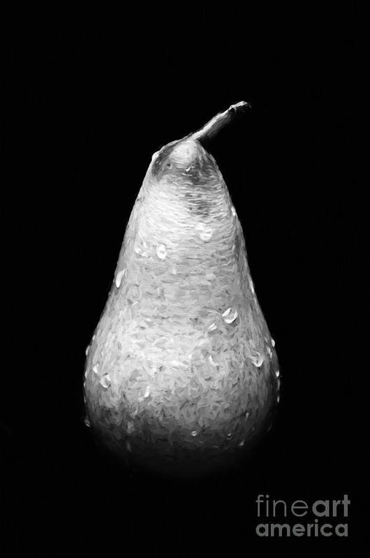 Andee Design Pear Poster featuring the photograph Tears Of A Sad Pear In Silver by Andee Design