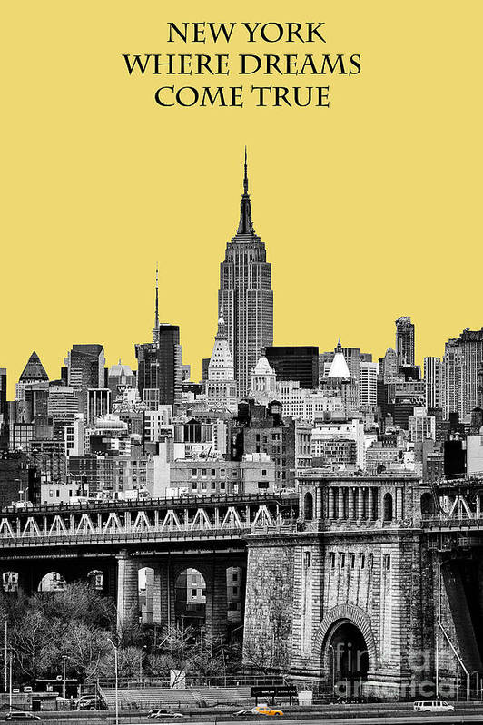 New York Canvas Poster featuring the photograph The Empire State Building Pantone Lemon by John Farnan