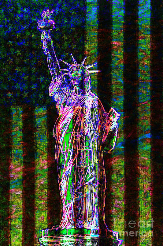 Flag Poster featuring the photograph The United States Of America 20130115 by Wingsdomain Art and Photography