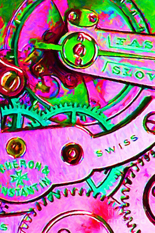 Steampunk Poster featuring the photograph Time In Abstract 20130605p108 by Wingsdomain Art and Photography