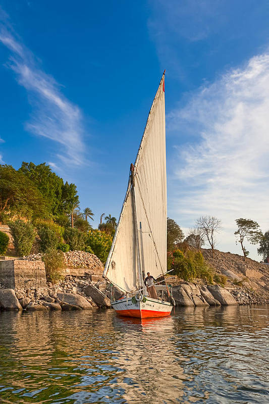 Egyptian Sailboat Poster featuring the photograph Traditional Egyptian Sailboat On The Nile by Mark E Tisdale