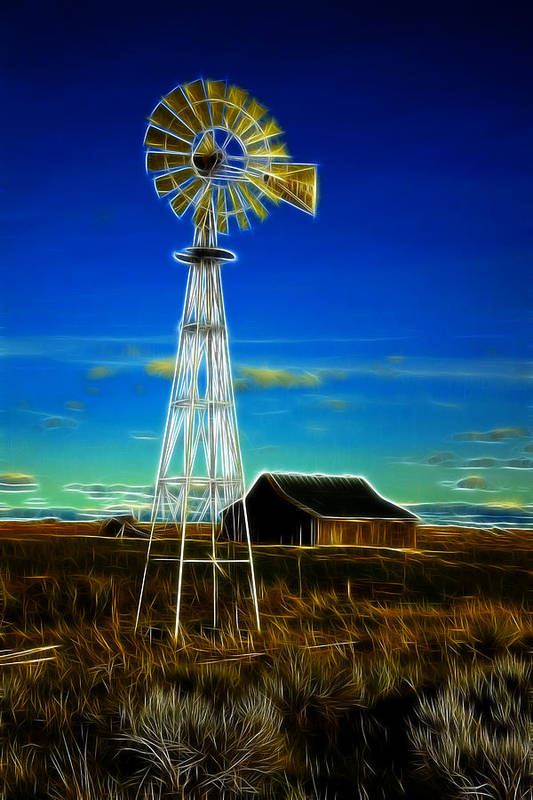 Cabin Poster featuring the photograph Western Windmill by Steve McKinzie