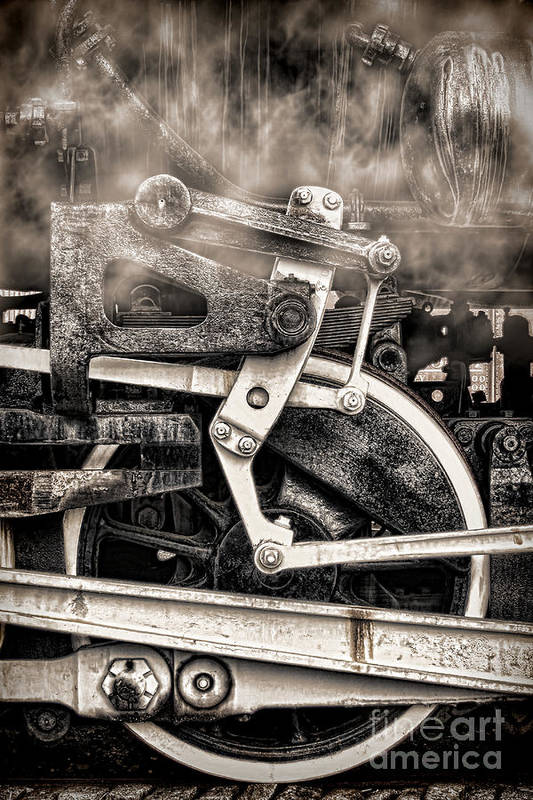 Locomotive Poster featuring the photograph Wheel And Steam by Olivier Le Queinec