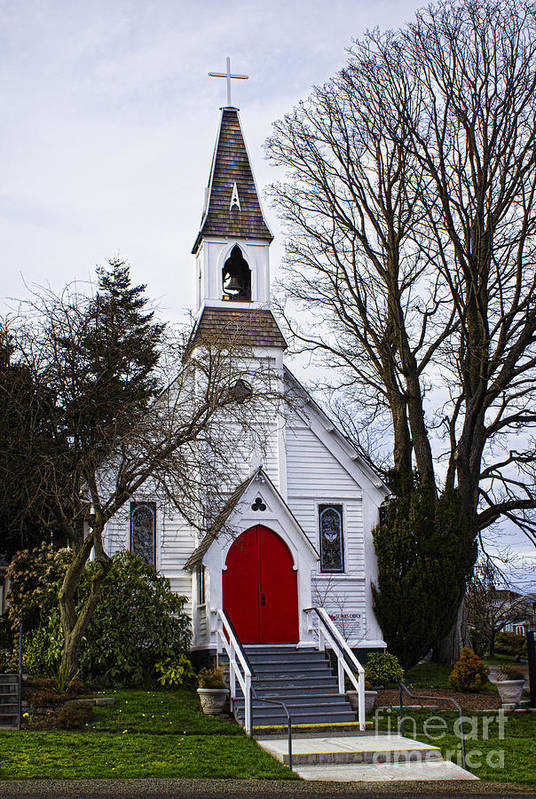 White Church With Red Door Poster featuring the photograph White Church With Red Door by Elena Nosyreva
