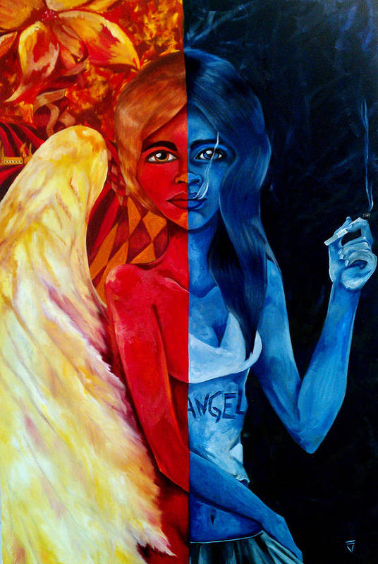 Angel Poster featuring the painting Who Is The Angel by Victoria Dietz