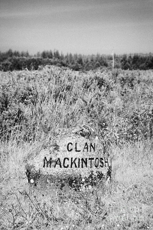 Memorial Poster featuring the photograph clan mackintosh memorial stone on Culloden moor battlefield site highlands scotland by Joe Fox
