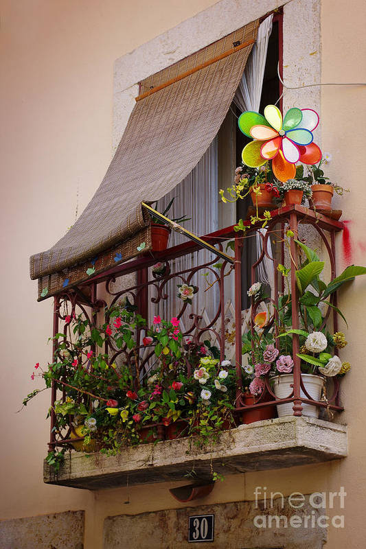 Address Poster featuring the photograph Flowery Balcony by Carlos Caetano