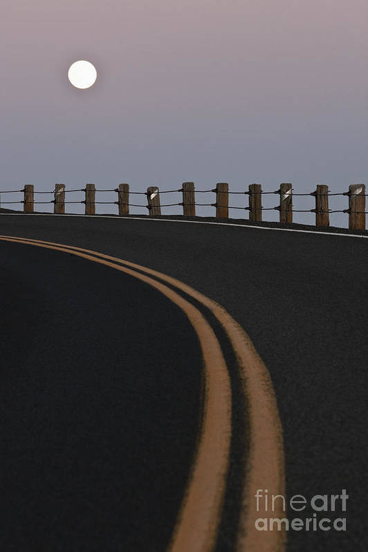 Asphalt Poster featuring the photograph Full Moon Over A Curving Road by Jetta Productions, Inc