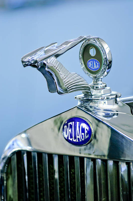 1933 Delage D8s Coupe Poster featuring the photograph 1933 Delage D8s Coupe Hood Ornament by Jill Reger