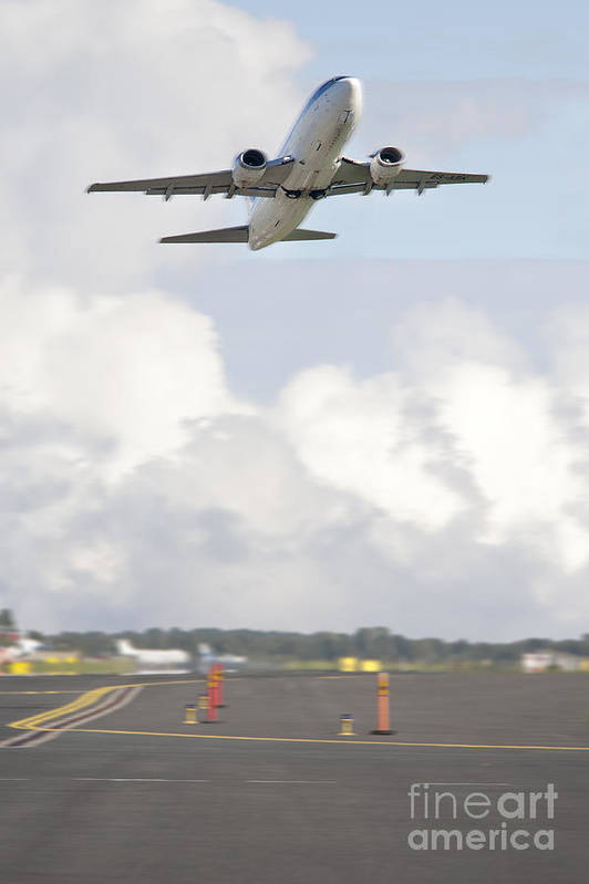 Air Travel Poster featuring the photograph Airplane Taking Off by Jaak Nilson